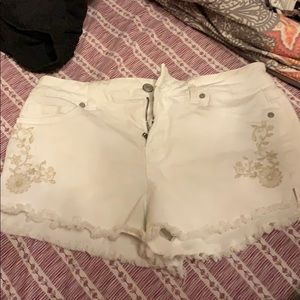White embroidered jean shorts